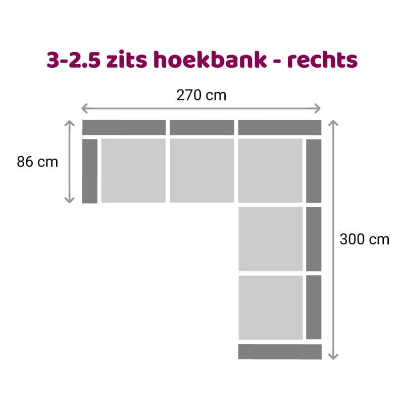 Hoekbank 3-2,5 zits - rechts