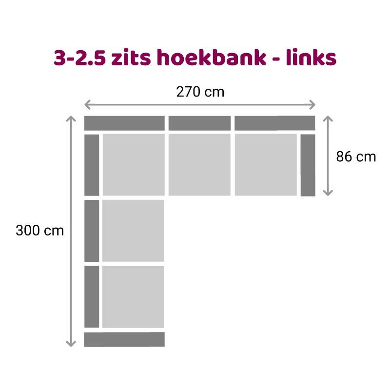 Hoekbank 3-2,5 zits - links
