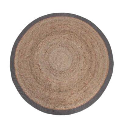Label51 Vloerkleed Jute grijs katoen rond